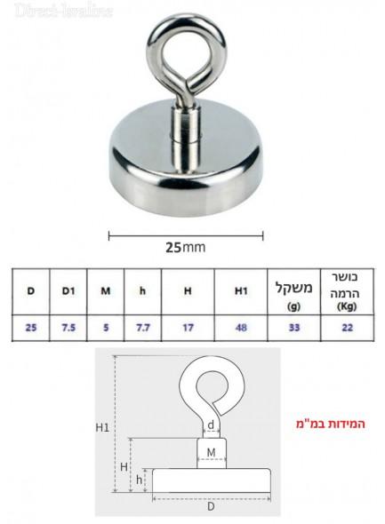 """מגנט בקוטר 25 מ""""מ עם טבעת אחיזה להרמה עד 22 ק""""ג D25mm *במלאי מיידי*"""