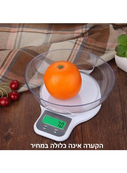 """משקל דיגיטלי למטבח עם תצוגה מוארת עד 5 ק""""ג דיוק 1 גרם D3078  *במלאי מיידי*"""