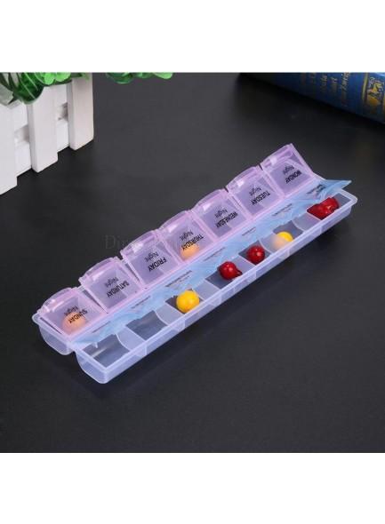 קופסא לתרופות עם 14 תאים לזמני בוקר/ערב לקיחת כדורים D3261  *במלאי מיידי*