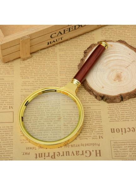 """זכוכית מגדלת 80 מ""""מ מפוארת עם ידית דמויית עץ מהגוני D2353 *במלאי מיידי*"""