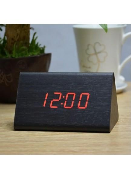 שעון מעורר מעוצב משולש דמוי עץ בסגנון עתיק D1711 *במלאי מיידי*