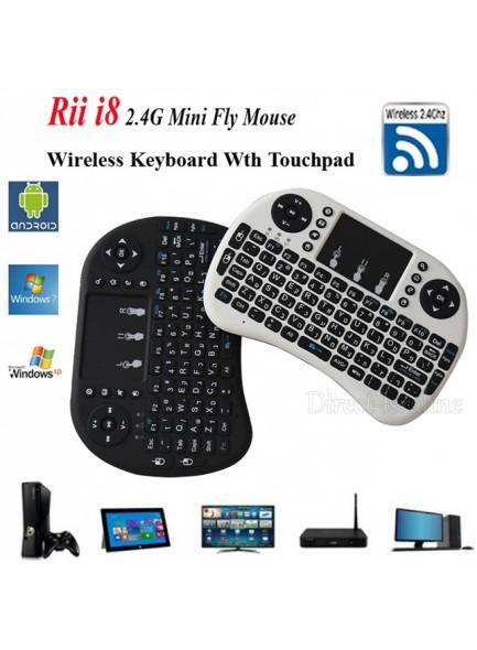 מקלדת RF מיני אלחוטית עם עכבר מגע תואמת Rii i8 עברית/אנגלית ערבית/אנגלית