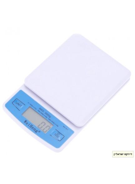 """משקל דיגיטלי עד 3 ק""""ג דיוק 0.5 גרם WH-B17 *במלאי מיידי*"""