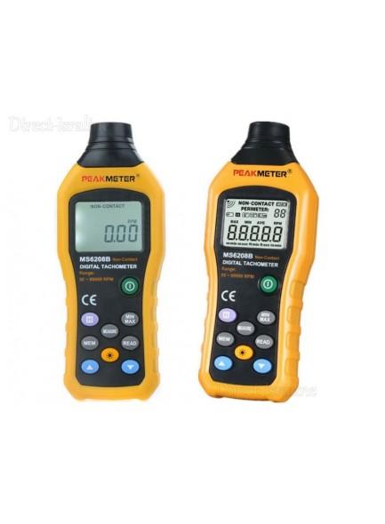 מד מהירות וסיבובים טכומטר דיגיטלי ללא מגע PeakMeter MS6208B *במלאי מיידי*
