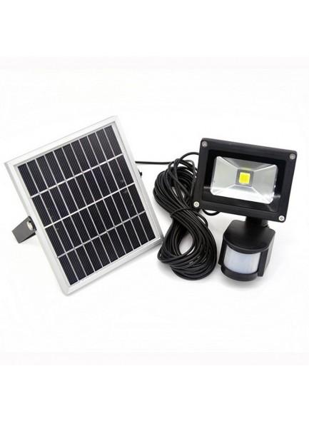תאורה סולארית עם זרקור 10 וואט נטען סולארית וחיישן תנועה