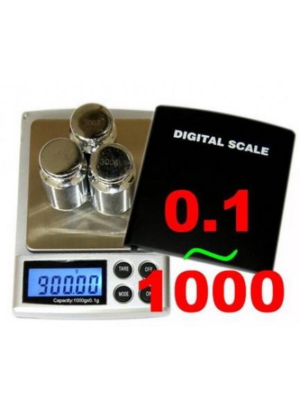 """משקל אלקטרוני דיגיטלי לתכשיטים שקילה עד 1 ק""""ג דיוק עד 0.1 גרם"""