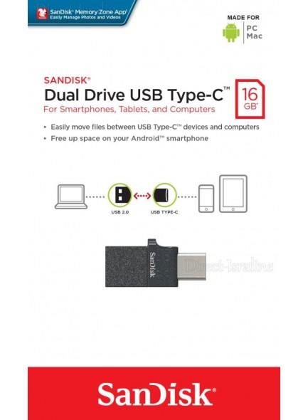 SanDisk Dual Drive USB Type-C and USB Type-A 16GB SDDDC1-016G זיכרון נייד יעודי לניהול וגיבוי קבצים