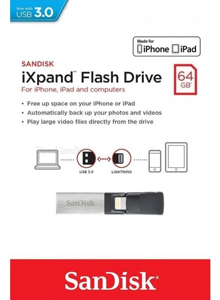 SanDisk iXpand 64GB SDIX30N-064G *במלאי מיידי*