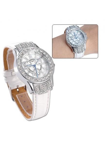 שעון אופנתי אלגנט לאישה משובץ קריסטלים רצועה לבנה D1500 *במלאי מיידי*
