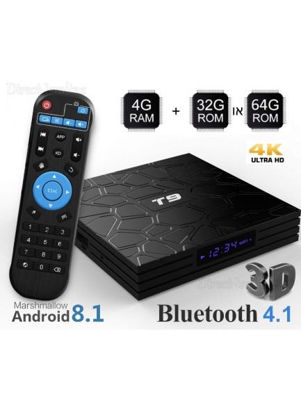 סטרימר T9 Android 8.1 Tv Box with Remote Control 4GB RAM 32GB ROM RK3328 Quad-core 4K Full HD 2.4Ghz WiFi Bluetooth 4.1 *במלאי מיידי*