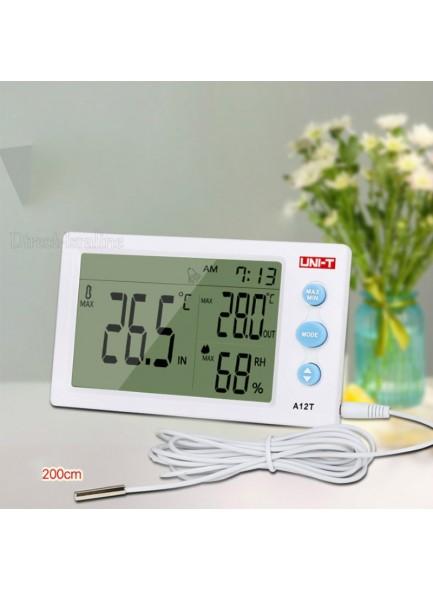 שעון עם תאריך ומד טמפרטורה ולחות לשימוש פנים וחוץ UNI-T A12T *במלאי מיידי*