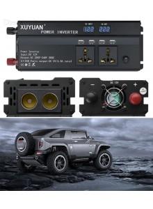 ממיר מתח בהספק 1000W / 2000W הספק עבודה קבוע עם 4 USB ו-4 שקעים לרכב בחיבור למצבר או המצת