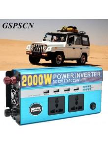 ממיר מתח בהספק 2000W עם 4 USB ו-2 שקעים לרכב בחיבור למצבר או המצת