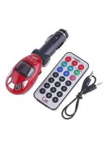 משדר FM לרכב ל-MP3 בצבע אדום