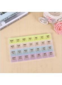 קופסא לתרופות עם 28 תאים בצבעים שונים לזמני בוקר/צהריים/ערב/רזרבה לקיחת כדורים דגם A2  *במלאי מיידי *