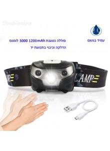 פנס ראש חכם נטען עם חיישן תנועה 3000 Lumens Cree Q5 *במלאי מיידי*