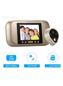 עינית דיגיטלית לדלת 3.2 אינץ עם ראיית לילה פעמון וצילום וידאו D3335 *במלאי מיידי*