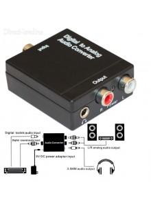 ממיר אודיו דיגיטלי לאנלוגי - Toslink אופטי + RCA קואקסיאלי ל-2xRCA סטריאו כולל כניסת אוזניות