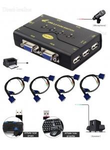 4 PORT KVM SWITCH BOX 4 CABLE USB CONTROLLER PC תומך בעכבר ומקלדת אלחוטיים תומך בכניסת מיקרופון ורמקולים *במלאי מיידי*