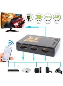 מפצל HDMI 4K 3D אוטומטי 3 כניסות עם שלט וספק כוח USB *במלאי מיידי*