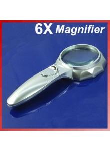 זכוכית מגדלת 6X 65mm עם תאורה D5218 *במלאי מיידי*