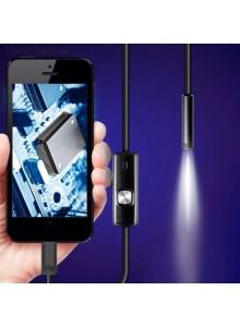 אנדוסקופ - מצלמת נחש - חסין למים עם כבל גמיש באורך 2/5 מטר ותאורת 6 לדים למחשב וסמארטפון אנדרואיד