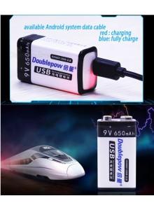 סוללה נטענת USB 9V Doublepow 650mAh *במלאי מיידי*