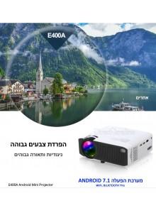 מקרן AUN E400A 1600 Lumens HDMI תומך Full HD 1080P Android 7.1 3D  *במלאי מיידי*