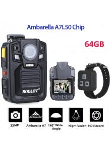 מצלמת גוף משטרתית עם שלט Boblov HD66-02 1296P HD 64GB ראיית לילה לשוטרים ואנשי בטחון