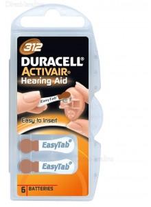 6 סוללות למכשירי שמיעה דורסל DURACELL ACTIVAIR 312 *במלאי מיידי*