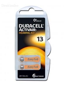 6 סוללות למכשירי שמיעה דורסל DURACELL ACTIVAIR 13 *במלאי מיידי*