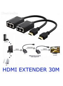 מאריך טווח ללא הגברה HDMI Cat5e Cat6 To RJ45 Extender 30 מטר *במלאי מיידי*