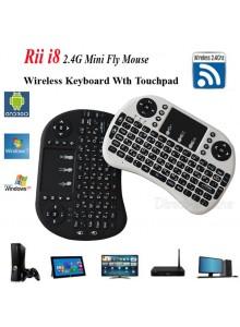 מקלדת RF מיני אלחוטית עם משטח עכבר מגע תואמת Rii i8 עברית/אנגלית או ערבית/אנגלית