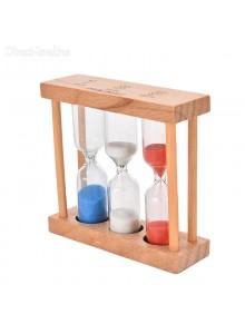 שעון חול משולש במסגרת עץ טבעי בעבודת יד D2542 *במלאי מיידי*