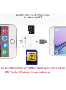 Lightning i-FlashDrive 3 IN 1 USB SDHC Micro SD OTG Card Reader קורא כרטיסי זיכרון לאייפון ואנדרואיד