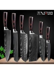 *סט 6 סכיני שף מקצועיים עשויים פלדה יפנית עשירה בפחמן בגימור עיטורי דמשק D4679 *במלאי מיידי