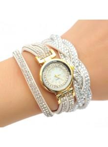 שעון אופנתי רצועת עור קלועה וקריסטלים בגווני לבן דגם 8455680