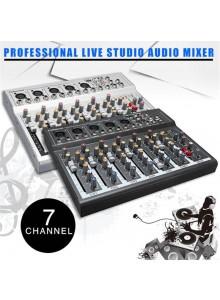 מיקסר 7 ערוצים מקצועי לתקליטנים 48V USB Digital Live Studio Audio Phantom *במלאי מיידי*