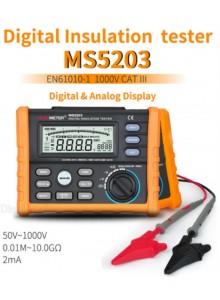 מד התנגדות בידוד מגר דיגיטלי PEAKMETER MS5203 50V-1000V  0.01Mohm-10.00Gohm *במלאי מיידי*