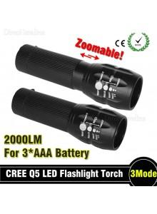 פנס עם זום 3 מצבים 2000 Lumens CREE Q5 LED *במלאי מיידי*