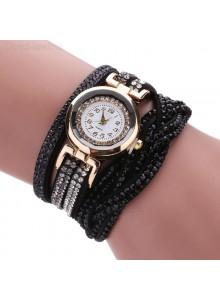 שעון אופנתי רצועת עור קלועה וקריסטלים בגווני שחור דגם 7711646
