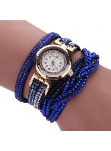 שעון אופנתי רצועת עור קלועה וקריסטלים בגווני כחול דגם 7711647