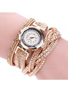 שעון אופנתי רצועת עור קלועה וקריסטלים בגווני זהב דגם 7711644