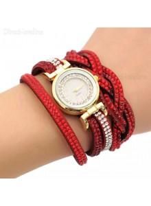 שעון אופנתי רצועת עור קלועה וקריסטלים בגווני אדום דגם 7711645