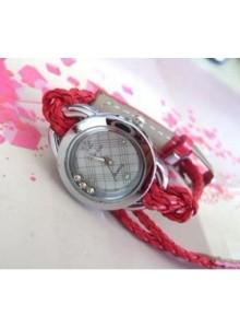 שעון עגול עם זירקונים צמיד חבל עור כפול במבחר צבעים
