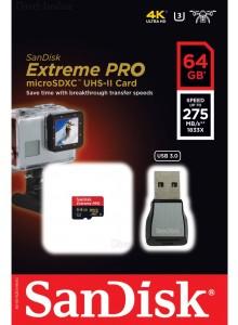 כרטיס זיכרון כולל מתאם USB 3.0 SanDisk Extreme Pro SDSQXPJ-064G 64GB