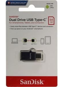 SanDisk Dual Drive USB Type-C and USB Type-A 64GB SDDDC1-064G זיכרון נייד יעודי לניהול וגיבוי קבצים