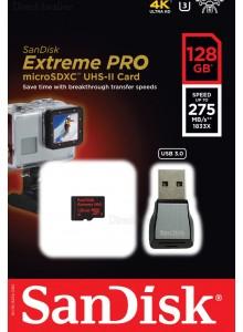 כרטיס זיכרון כולל מתאם SanDisk Extreme Pro SDSQXPJ-128G 128GB USB 3.0