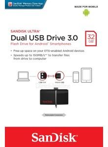 SanDisk Ultra Dual USB 3.0 32GB SDDD2-032GB *במלאי מיידי*