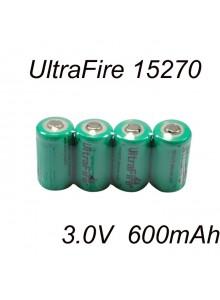 סוללה מקורית נטענת UltraFire TR15270 CR2 600mAh 3.0V Li-ion  *במלאי מיידי*